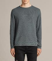 All Saints , Clash Long Sleeved Crew T Shirt