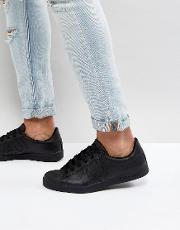 Armani Jeans , Leather Logo Trainer  Black
