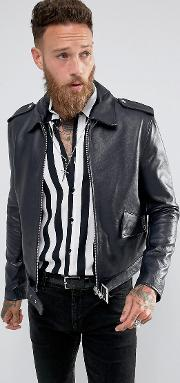 Black Dust , L.a Classic Leather Jacket In Navy