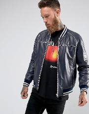 Black Dust , Navy Leather Bomber With Contrast Stitching