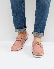Asos , Boat Shoes In Pink Suede With White Sole
