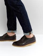 Asos , Brogue Shoes In Brown Leather With Emboss Detail