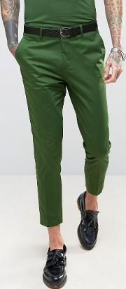 Devils Advocate , Skinny Fit Green Cotton Sateen Cropped Suit Trousers