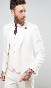 Devils Advocate , Wedding Skinny Fit Cream Weave Suit Jacket With Burgundy Floral Lapel Pin