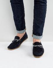 Asos , Driving Shoes  Navy Suede With Contrast Lace
