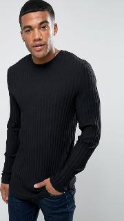 Asos , Extreme Muscle Long Sleeve  Shirt In Chunky Rib  Black With Curved Hem