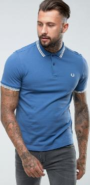 Fred Perry , Slim Fit Tipped Polo In Soft Navy