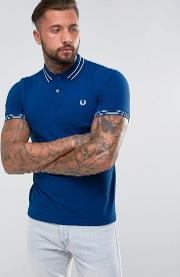 Fred Perry , Tipped Polo Shirt In Blue