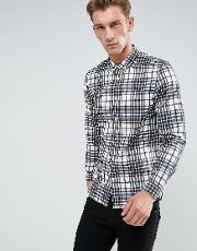 Fred Perry , Twill Check Shirt In White