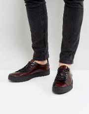Fred Perry , X George Cox Creeper Leather Shoes In Red