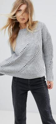 Girl In Mind , Rosie Mini Cable Knit Jumper Grey