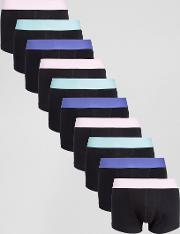 Asos , Hipsters In Black With Pastel Waistband 10 Pack Save