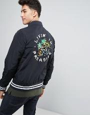 Hollister , Souvenir Nylon Bomber With Back Embroidery In Black