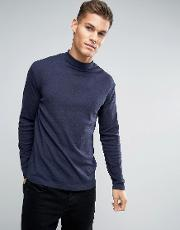 Lindbergh , Long Sleeved T Shirt With Roll Neck In Blue Marl