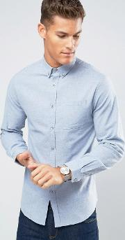 Lindbergh , Shirt Slim Fit In Light Blue Marl Flannel