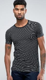 Lindbergh , T Shirt In Black And Grey Marl Stripe