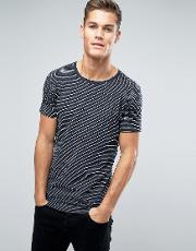Lindbergh , T Shirt In Grey Marl And Navy Stripe