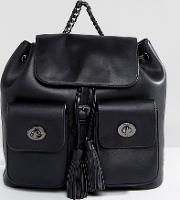 Marc B , Double Pocket Backpack With Tassel Detail In Black