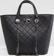 Marc B , Quilted Tote Bag With Chain Detail  Black