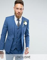Noak , Super Skinny Wedding Suit Jacket With Square Hem  Blue
