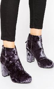 Office , Annie Grey Velvet Heeled Ankle Boots