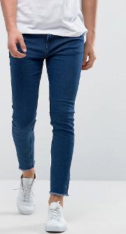 Only & Sons , Skinny Medium Blue Jeans With Raw Edge