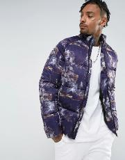 Asos , Puffer In All Over Print  Purple