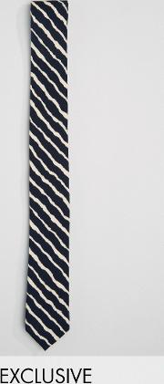 Reclaimed Vintage , Inspired Stripe Tie  Black