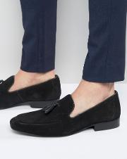 Red Tape , Tassel Loafers In Black Suede