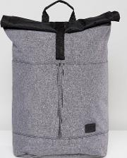 Spiral , Roll Top Backpack In Grey