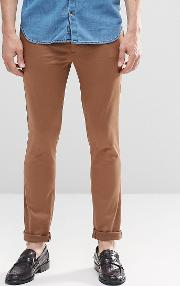 Asos , Super Skinny Trousers  Cotton Sateen  Mid Brown