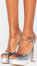 coco silver leather platform heeled sandals