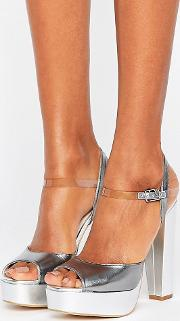 Terry De Havilland , Coco Silver Leather Platform Heeled Sandals