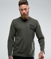 The North Face , Fine Long Sleeve Top Square Logo  Dark Green Exclusive  Asos