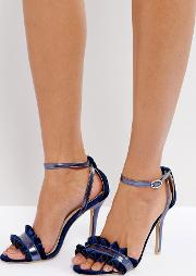 True Decadence , Frill Navy Barely There Heeled Sandals