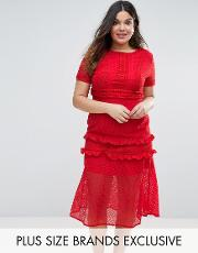 Truly You , Tiered Premium Lace Midi Dress