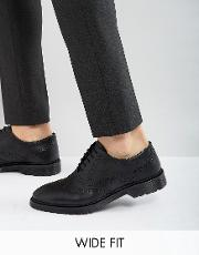 Asos , Wide Fit Brogue Shoes In Black Leather With Ribbed Sole