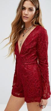 Young Bohemians , Plunge Front Playsuit With Flared Sleeves In Lace