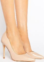 London Rebel , Open Waisted Patent Nude Court Shoe Heel