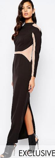 8th Sign , The Panelled Maxi Dress With Mesh Inserts