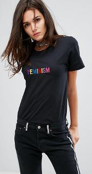 Adolescent Clothing , Shirt With Feminism Slogan Embroidery