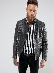 Black Dust , Stardust Leather Biker Jacket With Quilted Sleeves