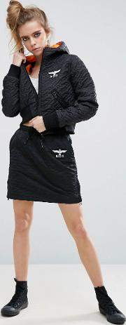 Boy London , Quilted Zip Front Skirt