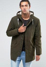 Esprit , Fish Tail Parka With Teddy Hood Lining  Khaki