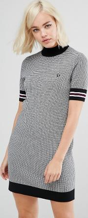 Fred Perry , High Neck Knitted Dress With Houndstooth Print