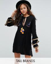 Glamorous Tall , Embroidered Smock Dress With Frill Layered Sleeve Detail