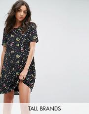 Glamorous Tall , Shift Dress In Sparse Floral