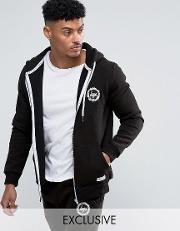 Hype , Zip Up Hoodie With Crest Logo