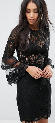Lioness , Allover Lace Dress With Fluted Sleeve Detail