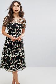 Liquorish , Floral Embroidered Midi Dress With Sheer Sleeves